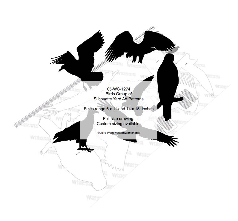 Birds Group of Silhouettes Yard Art Woodworking Patterns woodworking plan