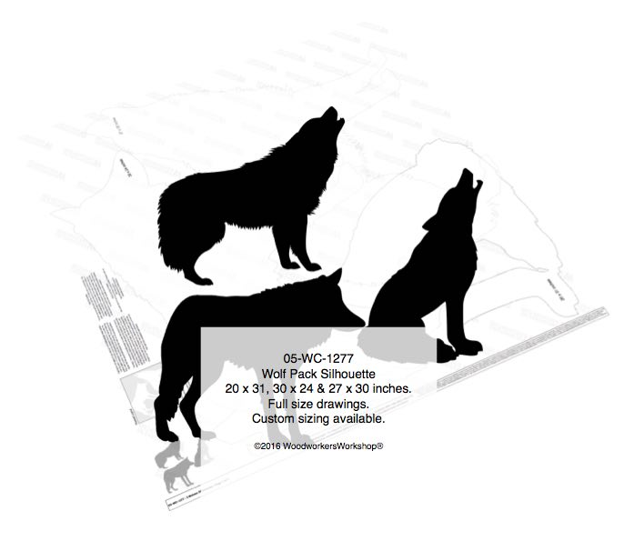 Wolf Pack Silhouettes Yard Art Woodworking Pattern woodworking plan