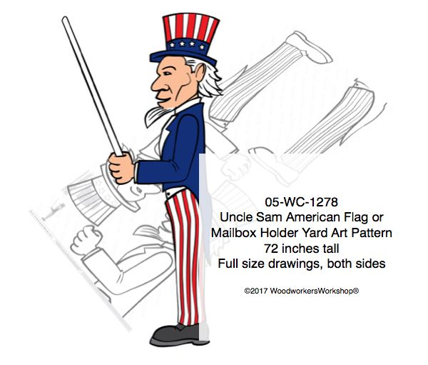 05-WC-1278 - Uncle Sam Flag holder or Mailbox Holder Yard Art Woodworking Pattern