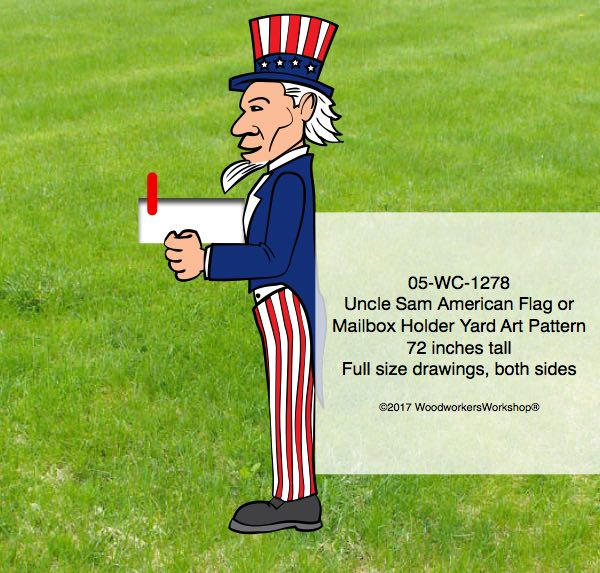 Uncle Sam Flag holder or Mailbox Holder Yard Art Woodworking Pattern
