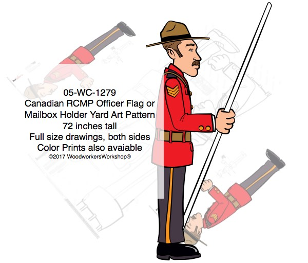 Canadian RCMP Officer Flag Holder or Mailbox Holder Yard Art Pattern woodworking plan