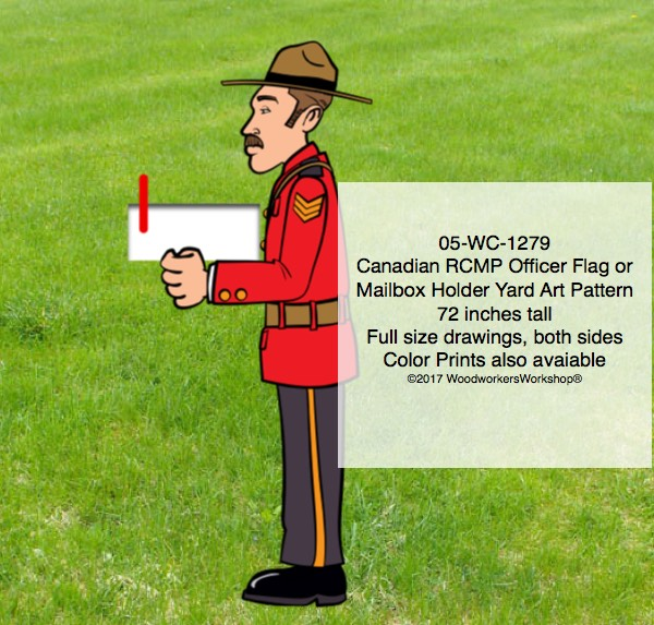 05-WC-1279 - Canadian RCMP Officer Flag Holder or Mailbox Holder Yard Art Pattern