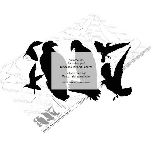 Birds Group of Silhouettes Yard Art Woodworking Pattern woodworking plan