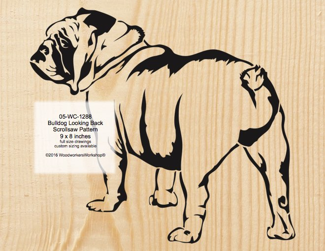 Bulldog Looking Back Scrollsaw Woodworking Pattern woodworking plan