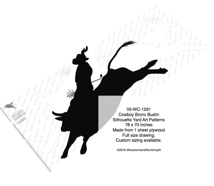 Cowboy Bronc Bustin Silhouette Yard Art Woodworking Pattern woodworking plan