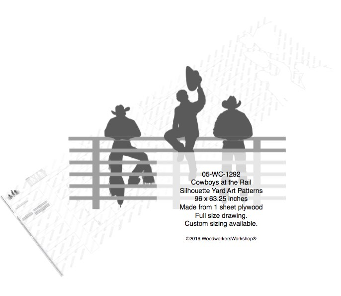 Cowboys at the Rail Silhouettes Yard Art Woodworking Pattern woodworking plan