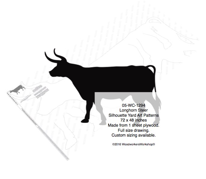 Longhorn Steer Silhouettes Yard Art Woodworking Pattern woodworking plan