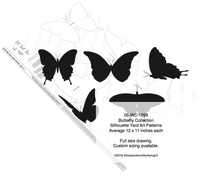 Butterfly Collection Silhouettes Yard Art Woodworking Pattern woodworking plan