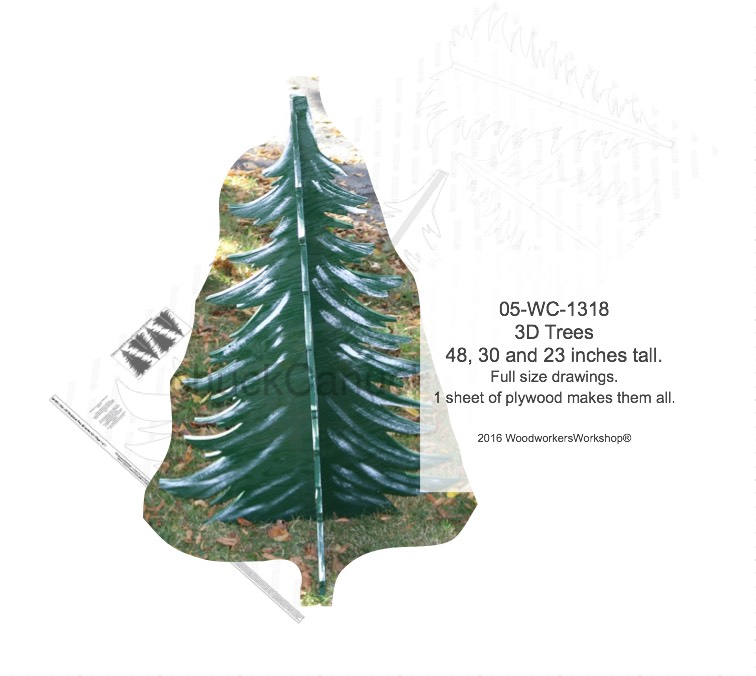 3D Trees Yard Art Woodworking Patterns - 48, 30 and 23 inches tall woodworking plan