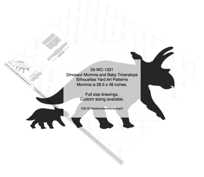 Dinosaur Mom and Baby Triceratops Silhouette Woodworking Patterns woodworking plan