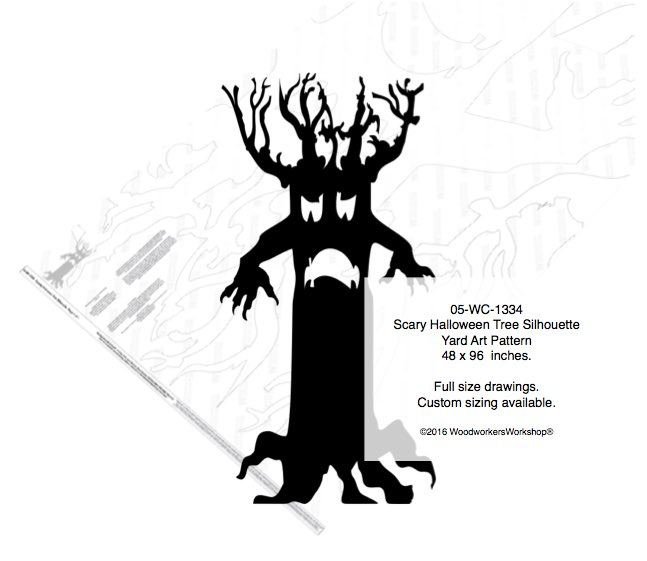 Scary Halloween Tree Silhouette Yard Art Woodworking Pattern woodworking plan