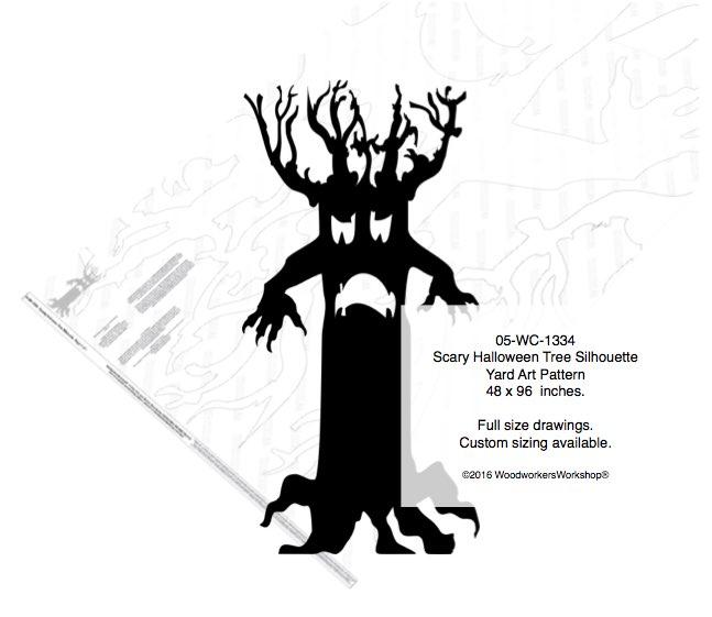 scary halloween tree silhouette yard art woodworking pattern