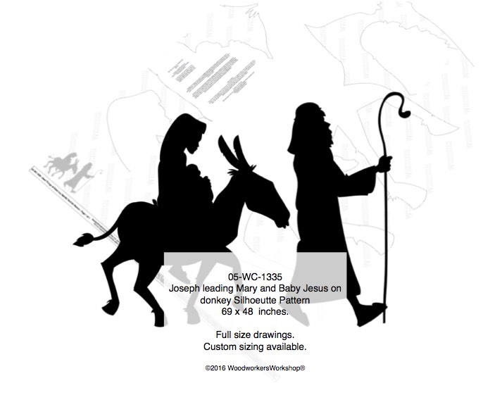 05-WC-1335 - Joseph leading Mary and Baby Jesus on a donkey Woodworking Pattern