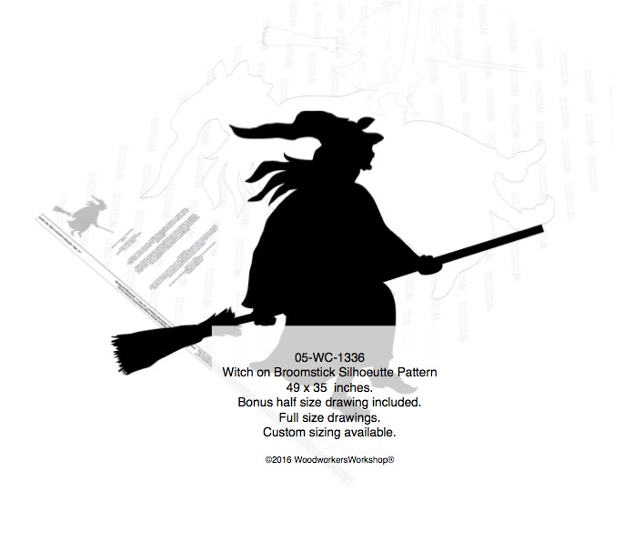 Witch on Broomstick Silhouette Woodworking Pattern woodworking plan
