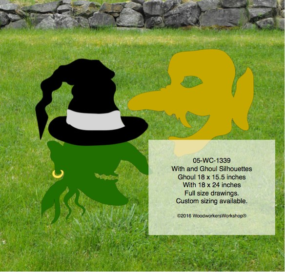 05-WC-1339 - Witch and Ghoul Silhouette Yard Art Woodworking Pattern