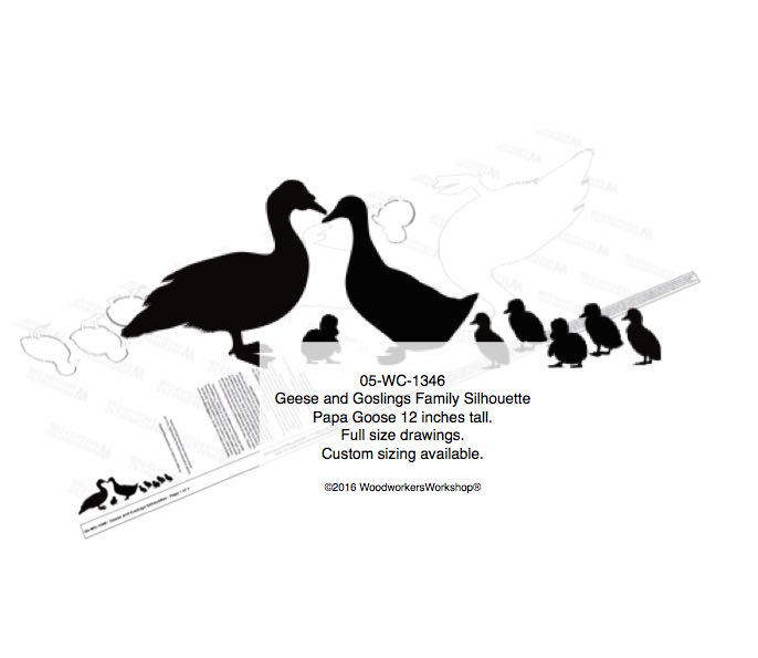 Geese and Goslings Family Silhouette Yard Art Woodworking Pattern woodworking plan