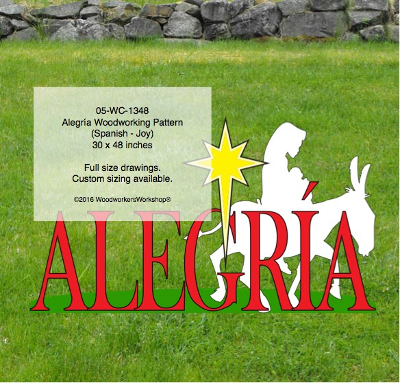 05-WC-1348 - Mary on mule - Alegría Yard Art Woodworking Pattern