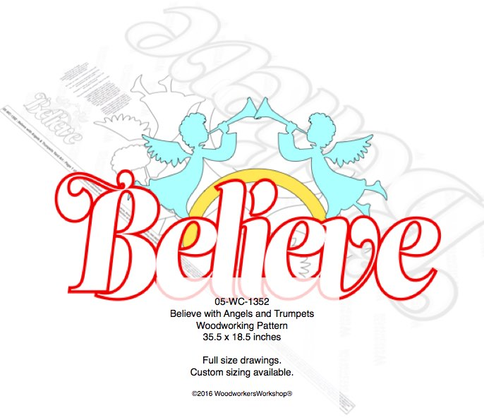 Believe with Angels and Trumpets Yard Art Woodcrafting Pattern