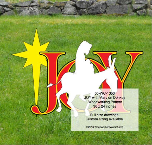JOY with Mary on Donkey Yard Art Woodcraft Pattern