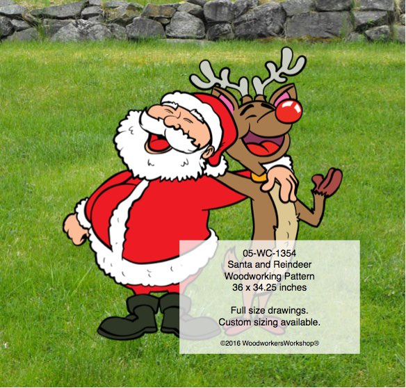Santa Claus and Rudolph Yard Art Woodworking Pattern