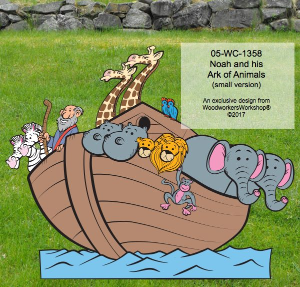 05-WC-1358 - Noah and his Ark of Animals Yard Art Woodworking Pattern