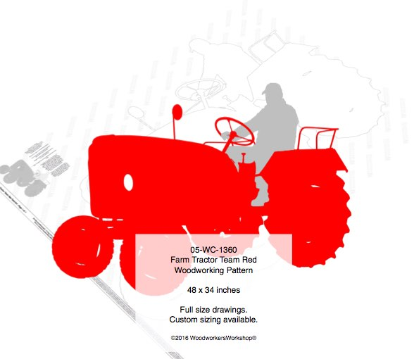 Farm Tractor Team Red Yard Art Woodworking Pattern