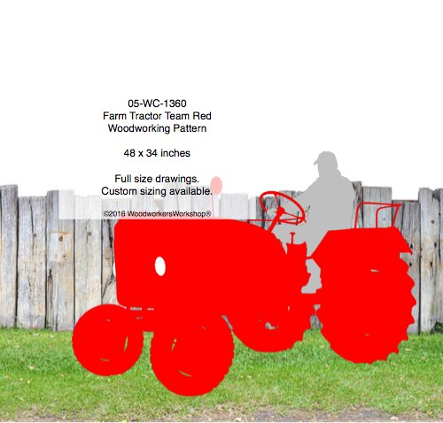 05-WC-1360 - Farm Tractor Team Red Yard Art Woodworking Pattern