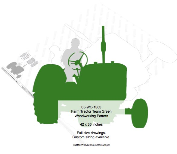 05-WC-1363 - Farm Tractor Team Green Yard Art Woodworking Pattern