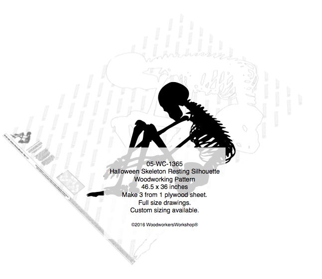 Skeleton Resting Silhouette Halloween Yard Art Woodworking Pattern woodworking plan