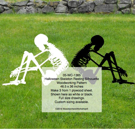 05-WC-1365 - Skeleton Resting Silhouette Halloween Yard Art Woodworking Pattern