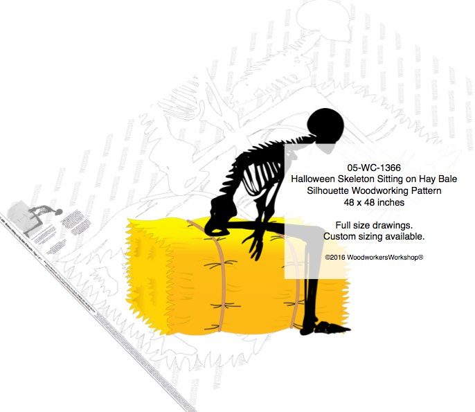 Skeleton Sitting on Hay Bale Silhouette Yard Art Woodworking Pattern woodworking plan