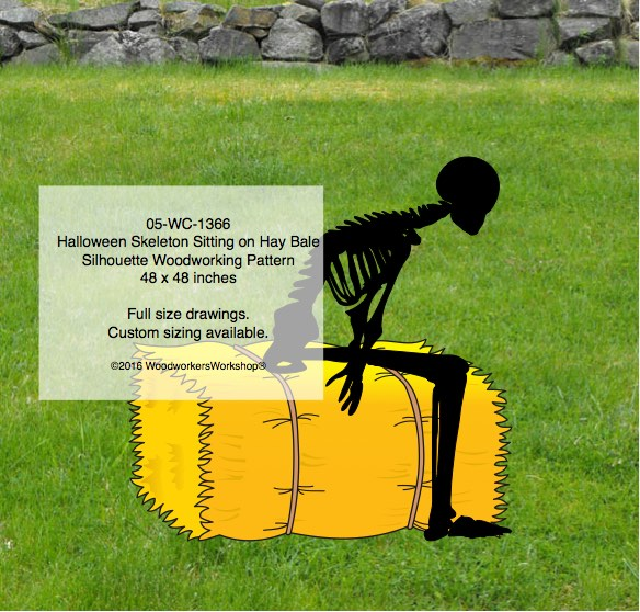 05-WC-1366 - Skeleton Sitting on Hay Bale Silhouette Yard Art Woodworking Pattern