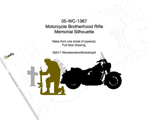 Motorcycle Brotherhood Rifle Memorial Silhouette Woodworking Pattern