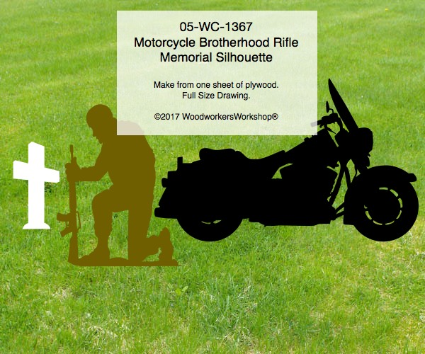 05-WC-1367 - Motorcycle Brotherhood Rifle Memorial Silhouette Woodworking Pattern