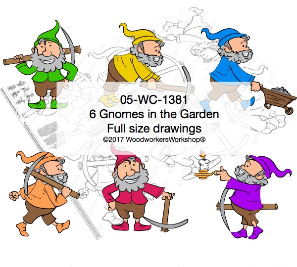 05-WC-1381 - 6 Gnomes in the Garden Yard Art Woodworking Pattern