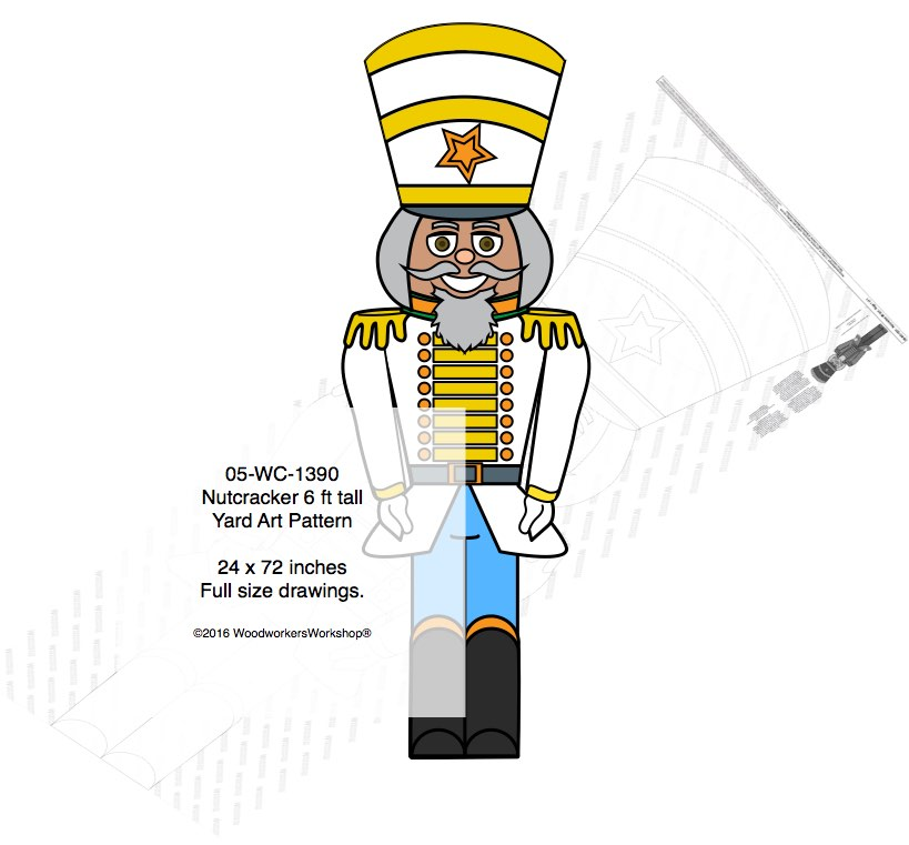 Nutcracker 6ft tall Yard Art Woodworking Pattern. Yard Art woodworking plan