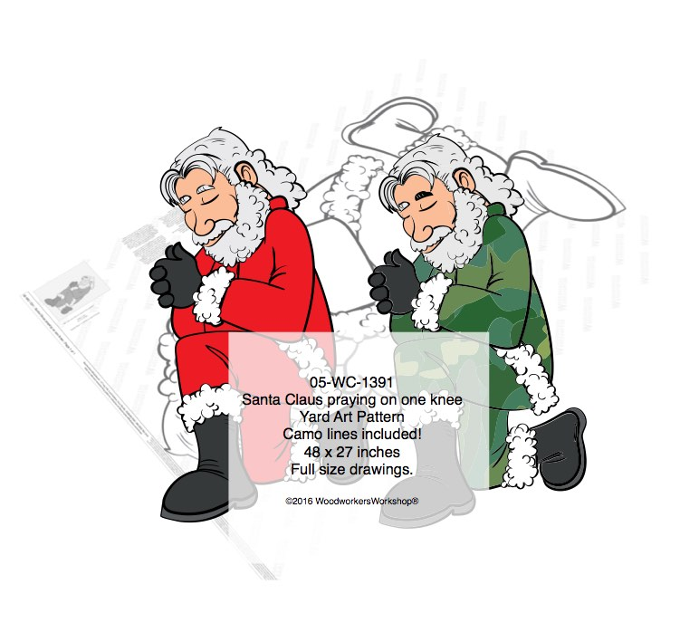 Santa Camo-Claus praying on one knee Yard Art Woodworking Pattern. woodworking plan