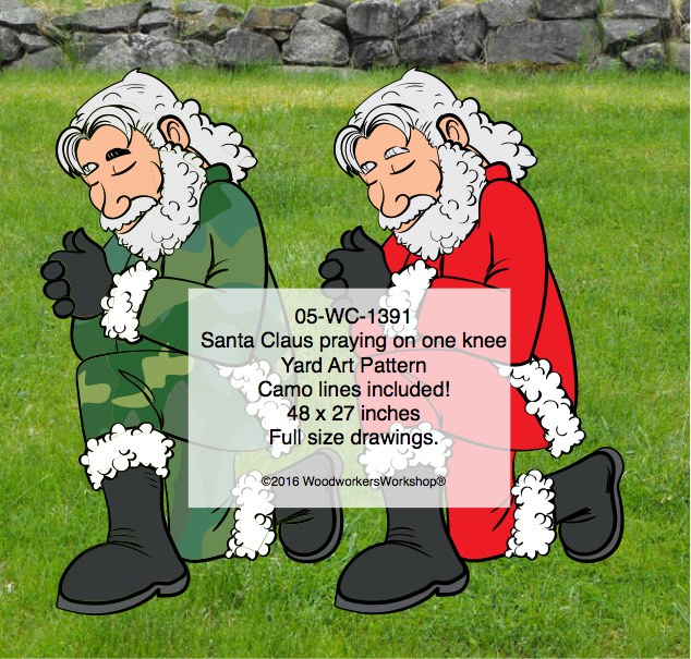 05-WC-1391 - Santa Camo-Claus praying on one knee Yard Art Woodworking Pattern.