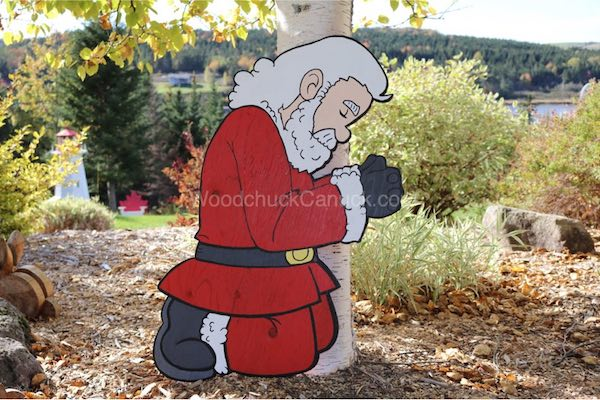 Santa Camo-Claus kneeling in prayer Yard Art Woodworking Pattern