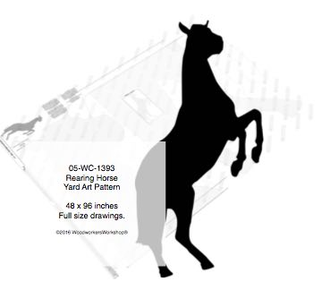 Rearing Horse Yard Art Woodworking Pattern 8ft tall woodworking plan