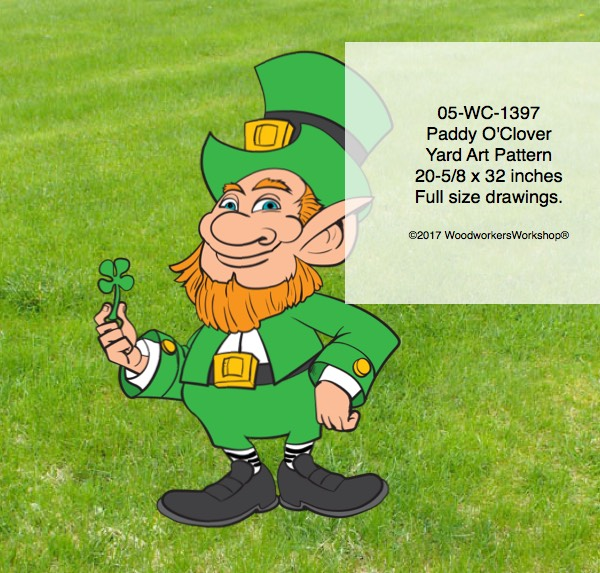 Paddy O Clover the Leprechaun Yard Art Woodworking Pattern