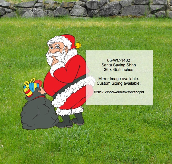 05-WC-1402 - Santa Saying Shhh Yard Art Woodworking Pattern