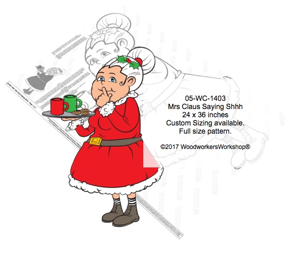 Mrs Claus Saying Shhh Yard Art Woodworking Pattern woodworking plan