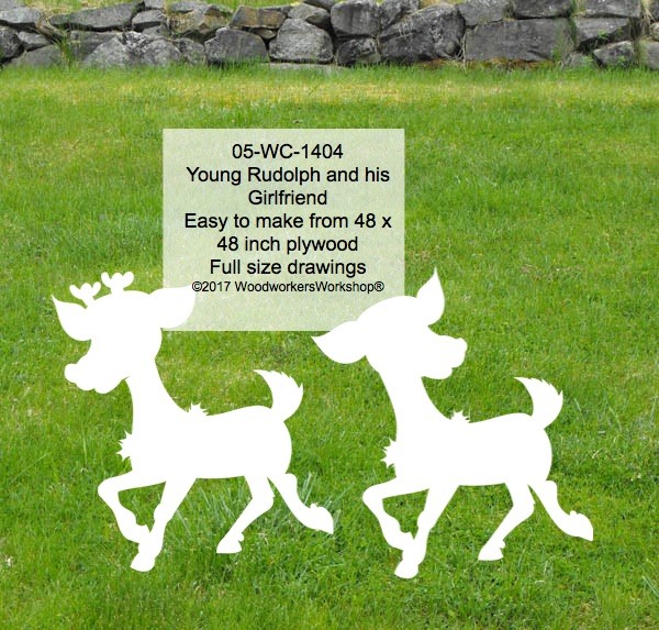 Young Rudolph and his Girlfriend Yard Art Woodworking Pattern.