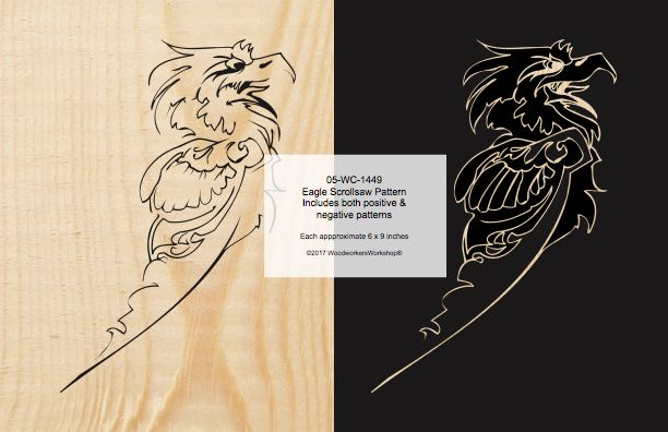 05-WC-1449 - Eagle Positive and Negative Scrollsaw Woodworking Pattern