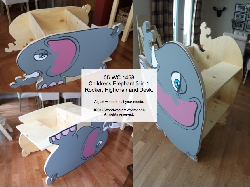 Childrens Elephant 3-in-1 Rocker, Highchair & Desk Woodworking Pattern