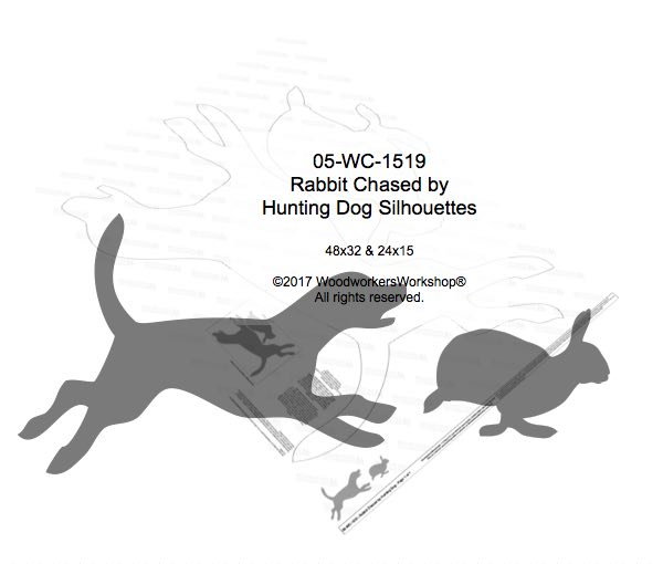 05-WC-1519 - Rabbit Chased by Hunting Dog Yard Art Woodworking Pattern