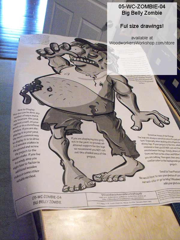 BIG Belly Zombie Yard Art Woodworking Pattern.