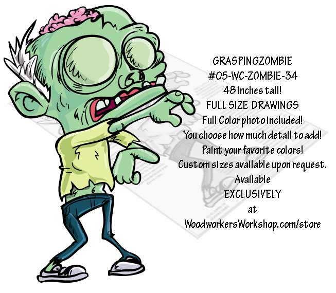 05-WC-ZOMBIE-34 - Grasping Zombie Yard Art Woodworking Pattern