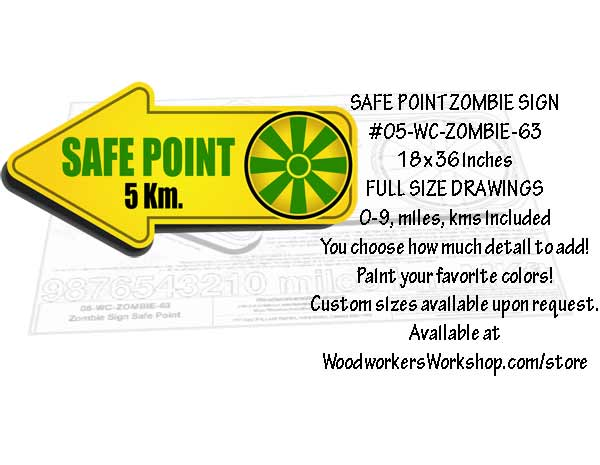 Safe Point Zombie Sign Yard Art Woodworking Pattern